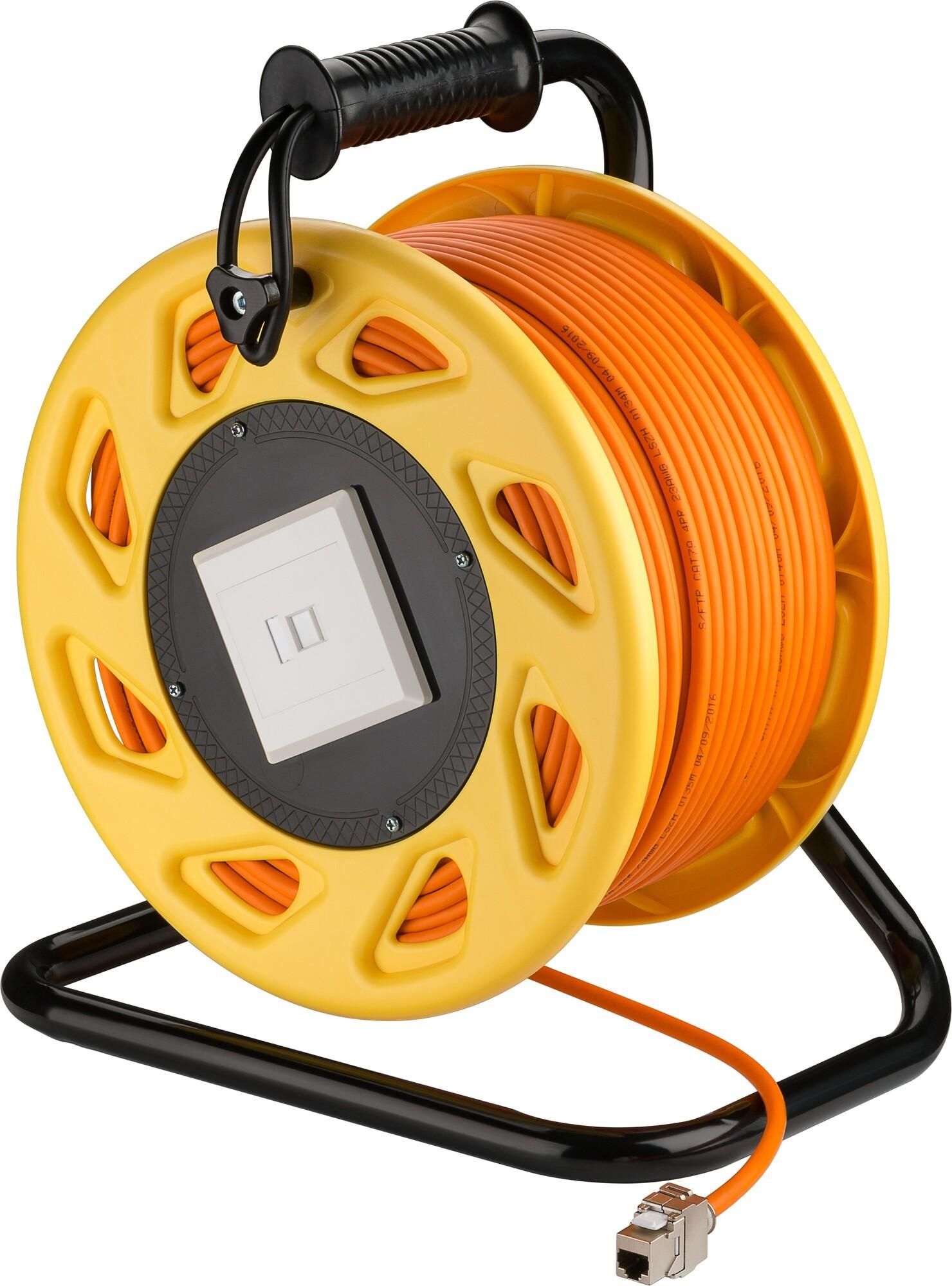 Afbeelding van CAT7 S/FTP Kabelhaspel met CAT6a Keystone Connector - RJ45 - 90 Meter