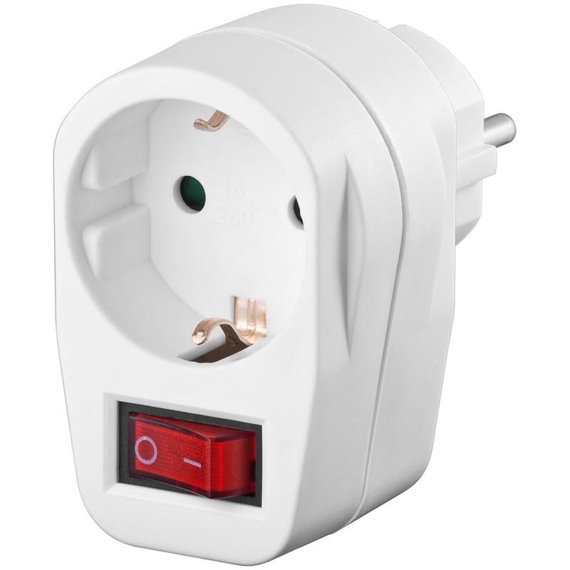Afbeelding van Stroom adapter schuko met schakelaar wit