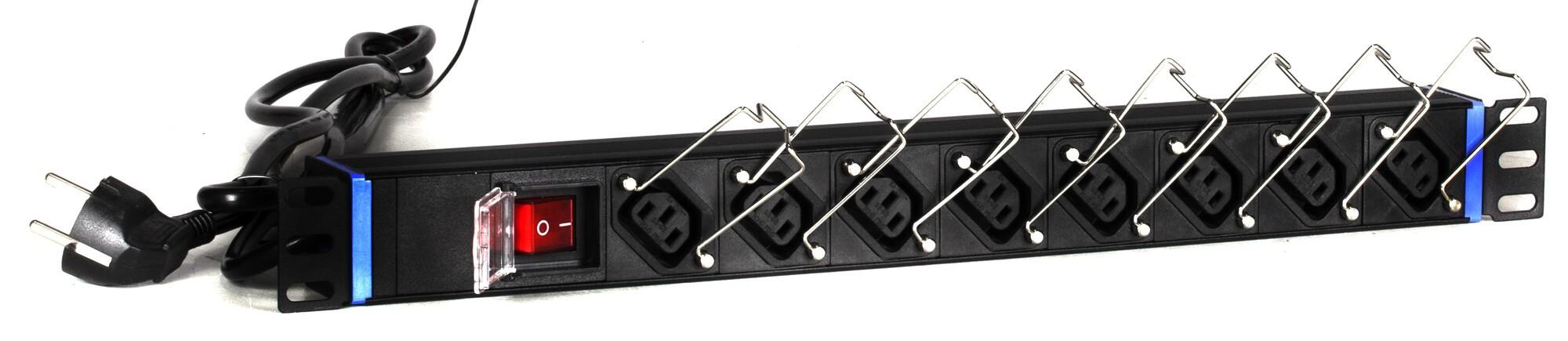 Afbeelding van 19 inch stekkerdoos, 8-voudig C13, 2m kabel, aluminium, zwart