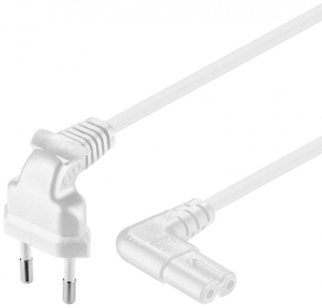 Afbeelding van Netsnoer haaks euro plug naar C7 1m wit