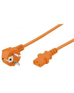 Netsnoer haaks schuko naar C13 3m oranje