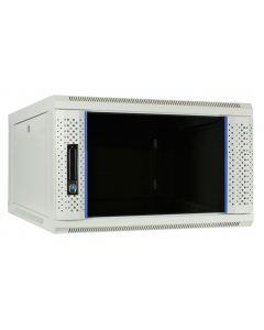 6U witte wand patchkast met glazen voordeur, 600mm diep
