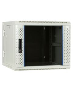 9U witte wand patchkast met glazen voordeur (kantelbaar), 600mm diep