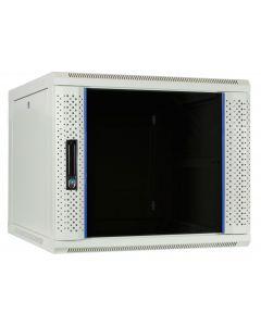 9U witte wand patchkast met glazen voordeur, 600mm diep