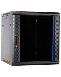 12U wand patchkast ongemonteerd met glazen voordeur, 600mm diep