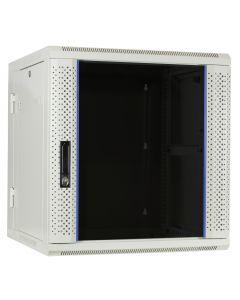 12U witte wand patchkast met glazen voordeur (kantelbaar), 600mm diep