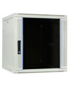12U witte wand patchkast met glazen voordeur, 600mm diep