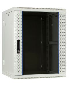 15U witte wand patchkast met glazen voordeur (kantelbaar), 600mm diep