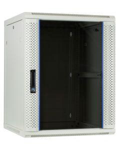 15U witte wand patchkast met glazen voordeur, 600mm diep