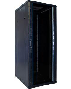 32U patchkast ongemonteerd met glazen voordeur 600x800x1600mm (BxDxH)