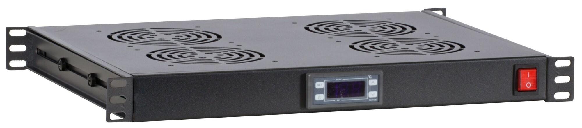 Afbeelding van 1U 19 inch ventilator set met 4st fan voor patchkasten (thermostaat, 230V)