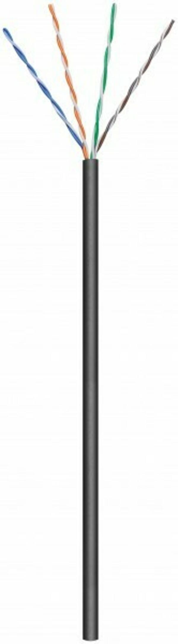 Afbeelding van CAT5e U/UTP 100m buitenkabel op rol stug zwart CCA